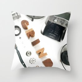 Grind # 2 // Exploded View Espresso Coffee Grinder Wood Block Typography Lettering Photograph Throw Pillow