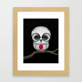 Baby Owl with Glasses and Japanese Flag Framed Art Print