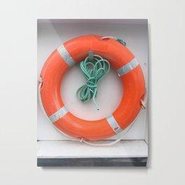 Orange Life Ring Metal Print