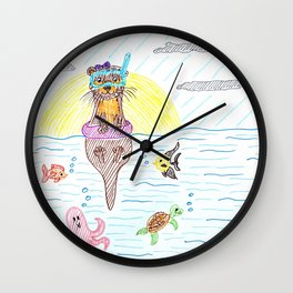 Otter at the sea Wall Clock