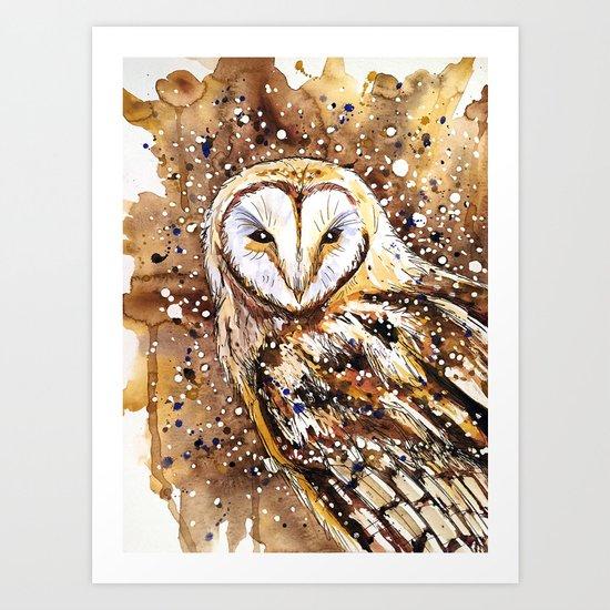 winter's owl Art Print