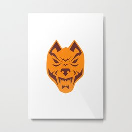 Angry Wolf Head Retro Metal Print