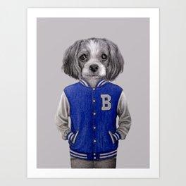 dog boy portrait Art Print