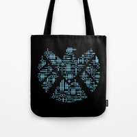 agents of shield Tote Bags featuring Alien Agents by Doodle Dojo