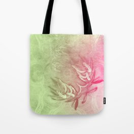 Pink and green wattle and kaleidoscope Tote Bag