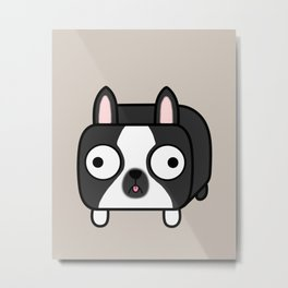 Boston Terrier Loaf - Black and White Dog Metal Print