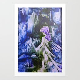 Lost Girl 2 - Blue Forest Art Print
