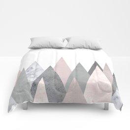 BLUSH MARBLE GRAY GEOMETRIC MOUNTAINS Comforters