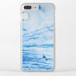 Full moon over shallow water Clear iPhone Case