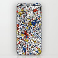 paris map iPhone & iPod Skins featuring Paris by Mondrian Maps