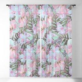 Vintage Pastel Aloha Sheer Curtain