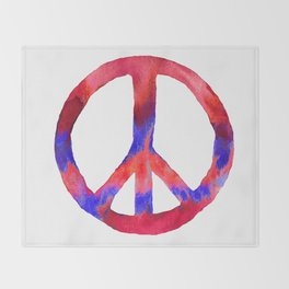 Patriotic Peace Sign Tie Dye Watercolor Throw Blanket