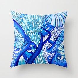 Blue Sploodge  Throw Pillow