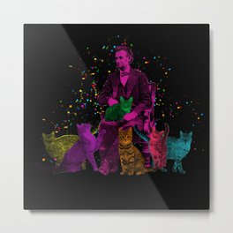 Preposterous Presidents - Lincoln - Rainbow Cat Party Metal Print
