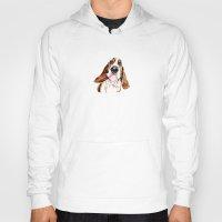 the hound Hoodies featuring Basset hound by Heathercook