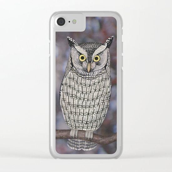 eastern screech owl on a branch Clear iPhone Case
