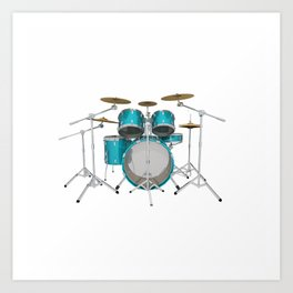 Green Drum Kit Art Print