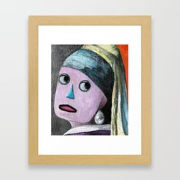Robot with a Pearl Earring Framed Art Print