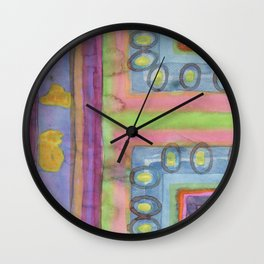 Strolling in a colorful city Wall Clock