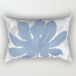 Indigo Boho Tie Dye Ikat Aralia Leaf Rectangular Pillow