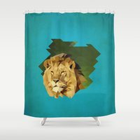 lion Shower Curtains featuring lion by gazonula