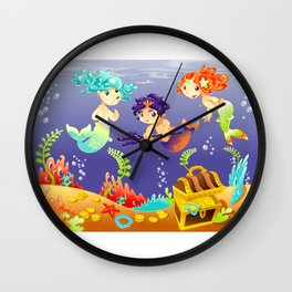 Baby Sirens and Baby Triton with background. Wall Clock