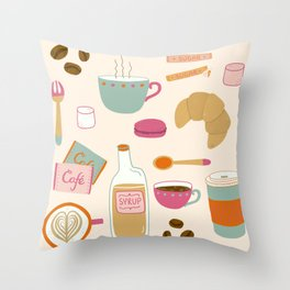 Drawing Coffee in a Café Throw Pillow