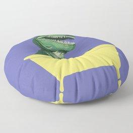 Playful T-Rex in Bathtub in Purple Floor Pillow