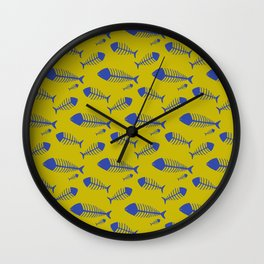 Ogre yellow & Blue fish skeleton pattern Wall Clock