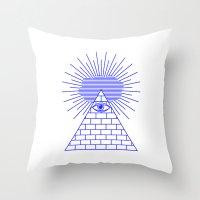 evil eye Throw Pillows featuring EVIL EYE by Anna Lindner
