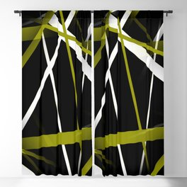Seamless Olive Green and White Stripes on A Black Background Blackout Curtain