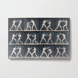 Time Lapse Motion Study Men Kick Boxing Metal Print