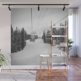 Ski Chair Lift B&W \\ Deep Snow Season Pass Dreams \\ Snowy Winter Mountains Landscape Photography Wall Mural