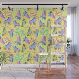 Roller Skates Pattern (Yellow Background) Wall Mural
