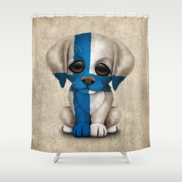 Cute Puppy Dog with flag of Finland Shower Curtain