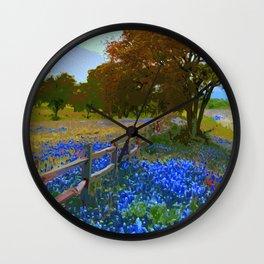 Bluebonnet season in Texas Wall Clock