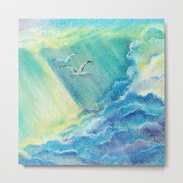 Together forever. Clouds, birds and sun rays. Metal Print
