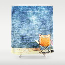 Summer holiday relaxing in the sun, digital art watercolor Shower Curtain