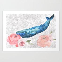Whale Amongst the Roses Art Print