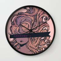 anonymous Wall Clocks featuring Anonymous by Ludovic Jacqz