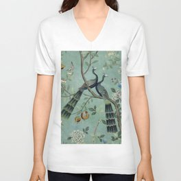 A Teal of Two Birds Chinoiserie Unisex V-Neck