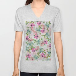 Modern teal pink watercolor hand painted floral Unisex V-Neck