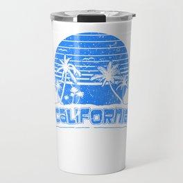 California Sunset Beach Vacation Paradise Island Retro Blue Travel Mug