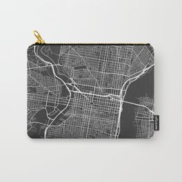 Pennsylvania Map, USA - Gray Carry-All Pouch