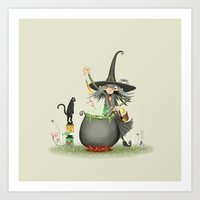 vegetarian Art Prints featuring Vegetarian witch by Romain Toffoli