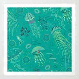 Into the Deep Jellies - Teal Art Print
