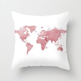 Rose Bloom World Map Throw Pillow