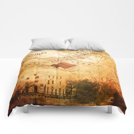 Allentown, New Jersey Map and Mill by Ericka O'Rourke Comforters
