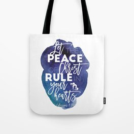 Bible verse watercolor typography blue background Colossians 3:15 Tote Bag