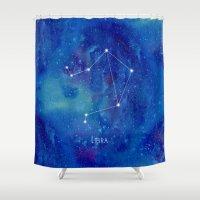 libra Shower Curtains featuring Constellation Libra by ShaMiLa